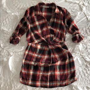 ABERCROMBIE Women's Knot front Plaid shirt dress L